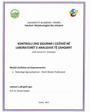 kontrolli dhe sigurimi i cilesise ne laboratoret e analizave te ushqimit -renata kongoli
