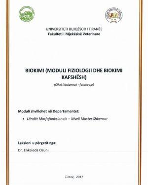 Biokimi (Moduli Fiziologji dhe Biokimi Kafshesh) -Enkeleda Ozuni