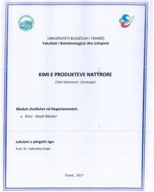 Kimi e produkteve natyrore -Prof.Dr.Valentina Arapi