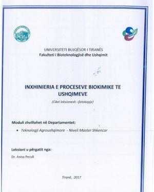 Inxhinieria e proceseve biokimike te ushqimeve -Dr.Anisa Peculi