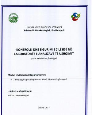 kontrolli dhe sigurimi i cilesise ne laboratoret e analizave te ushqimit – renata kongoli
